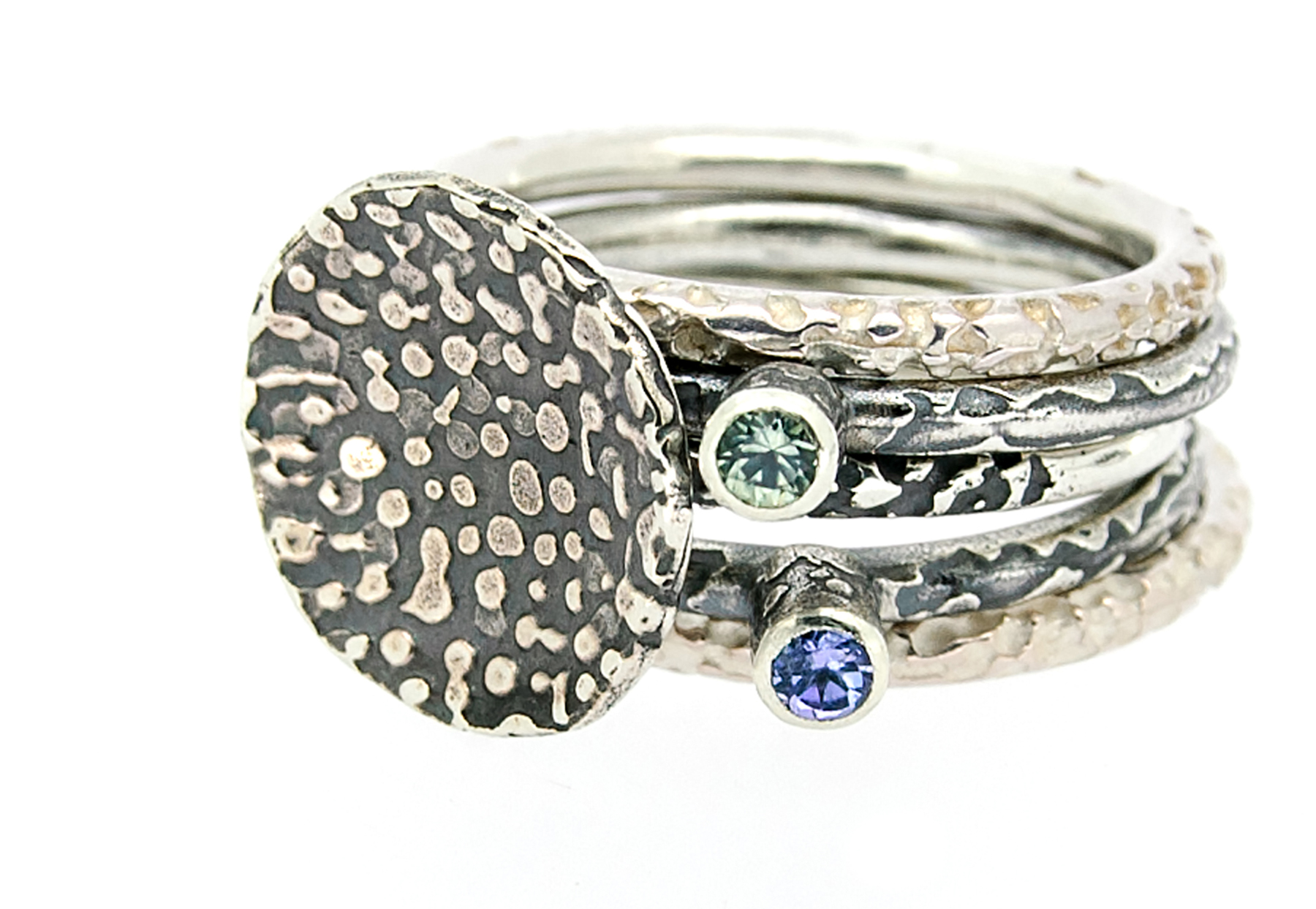 LisaRothwellYoung_stacking rings_2014_silver tanzanite green sapphire_WEB3