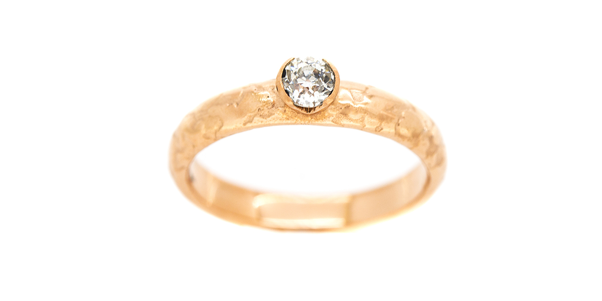 Recycled 18ct rose gold ring lichen texture set with customers own recycled diamond  Lisa Rothwell-Young